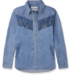 Remi Relief Suede-Trimmed Denim Western Shirt