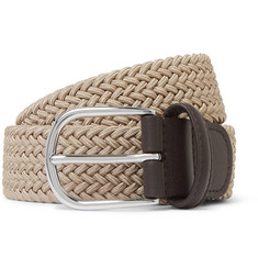 Anderson's 3.5cm Ecru Leather-Trimmed Woven Elastic Belt