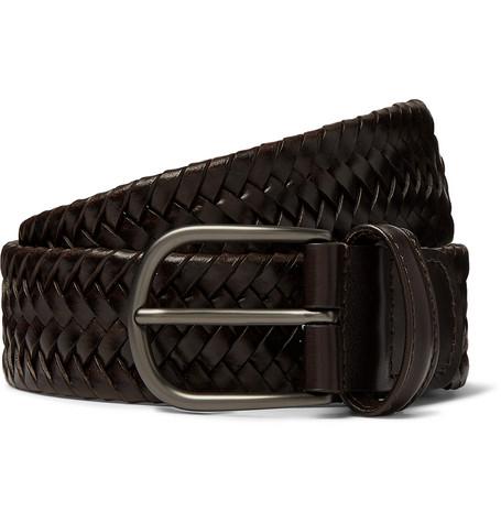 Anderson's – 3.5cm Dark-brown Woven Leather Belt – Brown