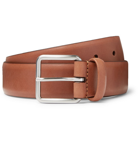 3.5cm Brown Leather Belt by Anderson's