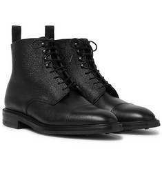 Kingsman + George Cleverley Cap-Toe Pebble-Grain Leather Boots