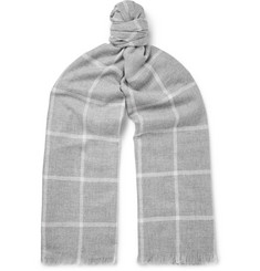 Johnstons of Elgin - Fringed Checked Cashmere Scarf