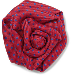 Charvet Polka-Dot Silk-Faille Lapel Pin