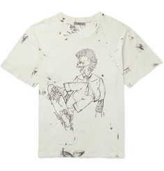 Eastlake Distressed Printed Cotton-jersey T-shirt - Ecru