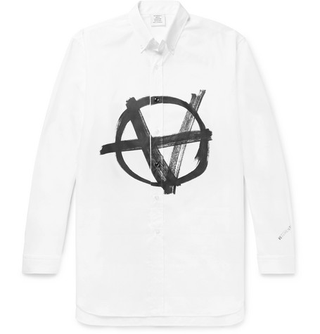 Vetements Button-Down Collar Logo-Print Cotton-Poplin Shirt