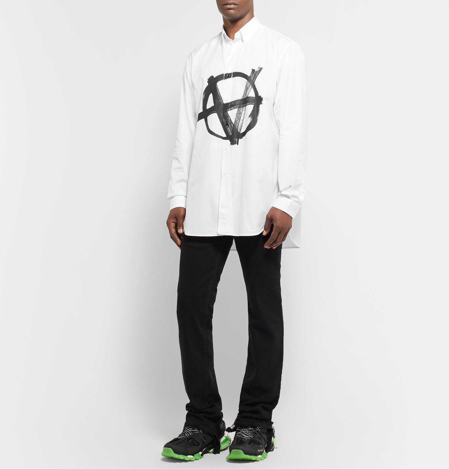 Vetements Button Down Collar Logo Print Cotton Poplin Shirt
