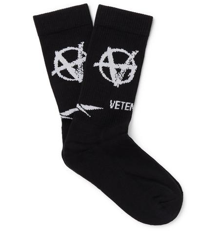 Vetements Socks + Reebok Logo-Intarsia Stretch Cotton-Blend Socks
