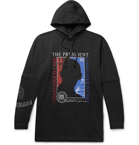 Vetements – Oversized Printed Cotton-jersey Hoodie – Black