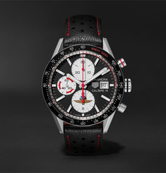 TAG Heuer Carrera Limited Edition Indy 500 Automatic Chronograph 41mm Steel and Leather Watch, Ref. No. CV201A