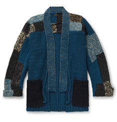 KAPITAL Patchwork Wool, Hemp and Linen-Blend Cardigan