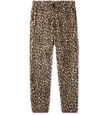 leopard-print-fleece-drawstring-trousers by kapital