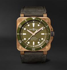 Bell & Ross - BR 03-92 Diver Limited Edition Automatic 42mm Bronze, Stainless Steel and Leather Watch