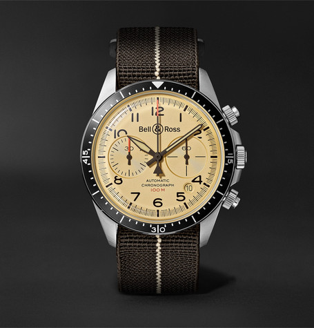 Bell & Ross BR V2-94 Automatic Chronograph 41mm Stainless Steel and Canvas Watch, Ref. No. BRV294-BEI-ST/SF