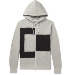 Aloye Colour-Block Mélange Loopback Cotton-Jersey Zip-Up Hoodie