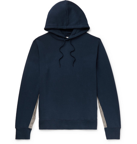 Aloye Panelled Loopback Cotton-Jersey Hoodie In Blue