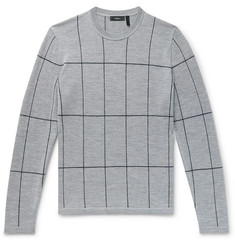 Theory Malio Checked Merino Wool Sweater