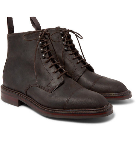 Kingsman George Cleverley Taron Cap-toe Roughout Leather Boots In Brown