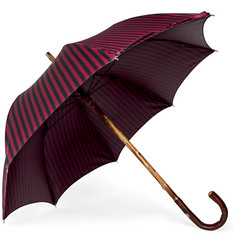Francesco Maglia Striped Chestnut Wood-Handle Umbrella