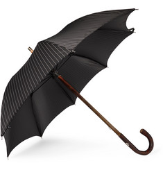 Francesco Maglia Pinstriped Chestnut Wood-Handle Umbrella