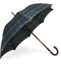 Francesco Maglia Checked Wood-Handle Umbrella