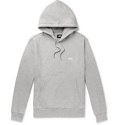 Stüssy Logo-Embroidered Mélange Fleece-Back Cotton-Jersey Hoodie
