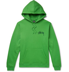 Stüssy Logo-Embroidered Fleece-Back Cotton-Blend Jersey Hoodie