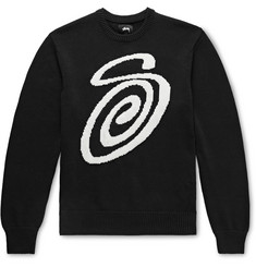 Stüssy Logo-Intarsia Cotton Sweater