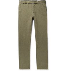 Officine Generale Paul Garment-Dyed Cotton and Linen-Blend Trousers