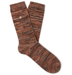 Folk Logo-Appliquéd Space-Dyed Stretch Cotton-Blend Socks