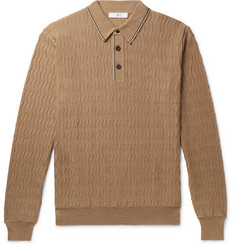 Mr P. Contrast-Tipped Herringbone Virgin Wool Polo Shirt