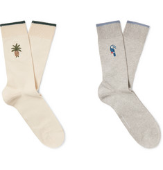 Desmond & Dempsey Two-Pack Embroidered Stretch Cotton-Blend Socks