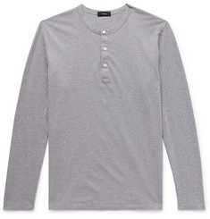 Theory Mélange Cotton-Jersey Henley T-Shirt