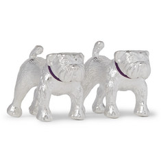 Asprey Bulldog Sterling Silver and Enamel Cufflinks