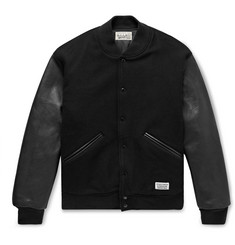 Wacko Maria Leather and Logo-Embroidered Wool and Cashmere-Blend Bomber Jacket