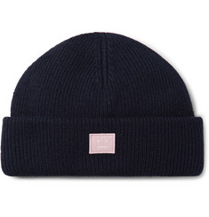 Acne Studios Kansy Logo-Appliquéd Ribbed Wool-Blend Beanie