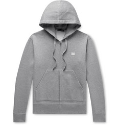 Acne Studios Ferris Logo-Appliquéd Mélange Fleece-Back Cotton-Jersey Zip-Up Hoodie