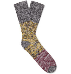 Thunders Love Charlie Colour-Block Mélange Recycled Cotton-Blend Socks