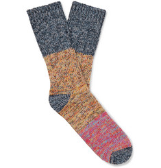 Thunders Love Charlie Colour-Block Mélange Cotton-Blend Socks