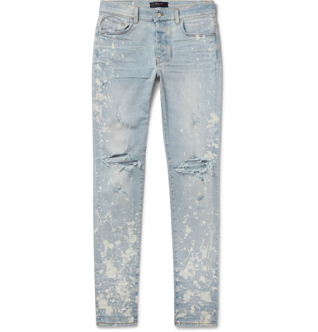 Amiri Jeans THRASHER MINUS SKINNY-FIT PAINT-SPLATTERED DISTRESSED STRETCH-DENIM JEANS