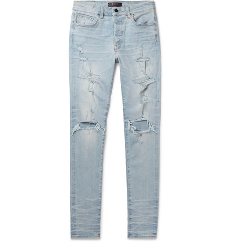 Amiri Jeans THRASHER PLUS SKINNY-FIT DISTRESSED STRETCH-DENIM JEANS