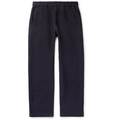 Folk Navy Tapered Slub Cotton-Blend Trousers