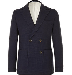 Oliver Spencer Navy Onslow Unstructured Double-Breasted Basketweave Wool and Cotton-Blend Blazer