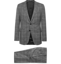 Hugo Boss Grey Novan/ Ben Slim-Fit Prince Of Wales Checked Super 120s Virgin Wool Suit