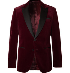 Hugo Boss Burgundy Helward Slim-Fit Satin-Trimmed Cotton-Velvet Tuxedo Jacket