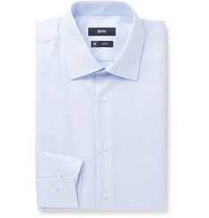 Hugo Boss Sky-Blue Jango Slim-Fit Cotton-Jacquard Shirt