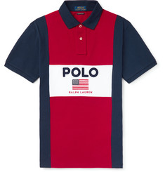 Polo Ralph Lauren Logo-Embroidered Colour-Block Cotton-Piqué Polo Shirt