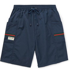 Gucci Striped Webbing-Trimmed Shell Drawstring Shorts
