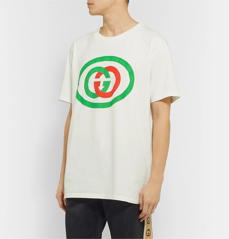 Gucci White Unisex Oversized T-shirt With Gg Print