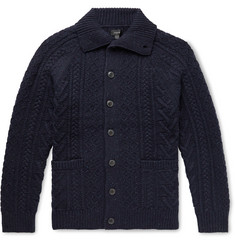 J.Crew Cable-Knit Donegal Merino Wool-Blend Cardigan
