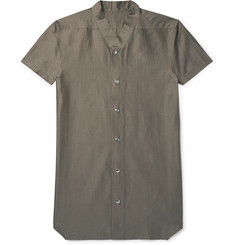 Rick Owens Slim-Fit Collarless Cotton and Silk-Blend Shirt